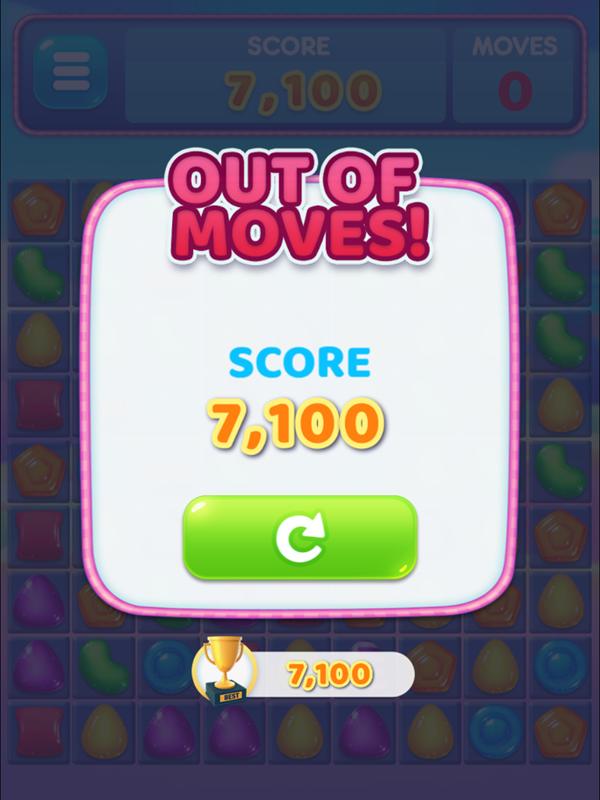Candy Fiesta Game Over Screen Screenshot.