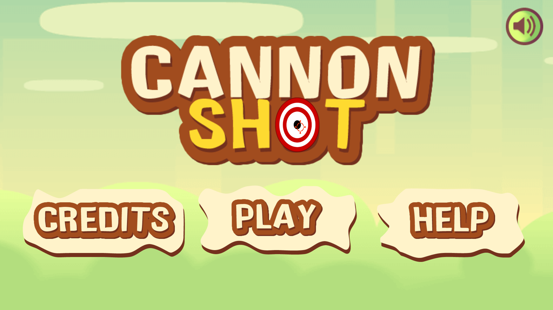 Cannon Shot Game Welcome Screen Screenshot.