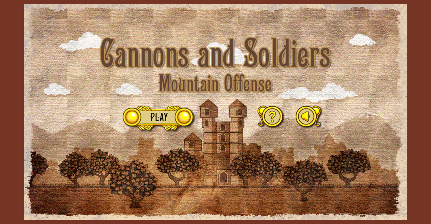 Cannons and Soldiers Welcome Screen Screenshot.