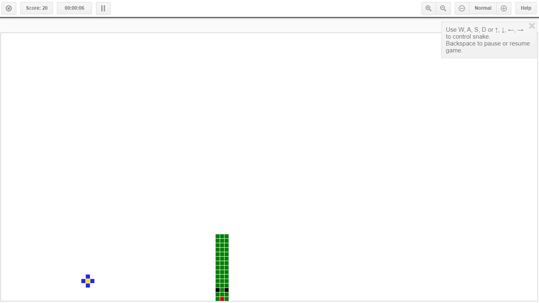Canvas Snake Controls Screenshot.
