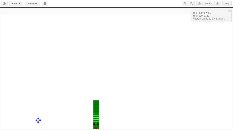 Canvas Snake Game Over Screenshot.