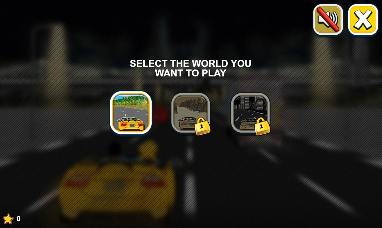 Car Rush Game Select World Screenshot.