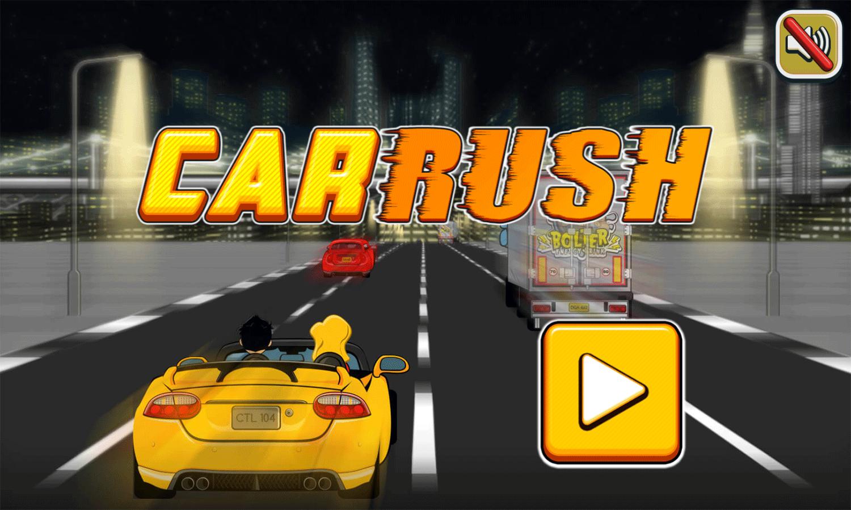 Car Rush Game Welcome Screen Screenshot.