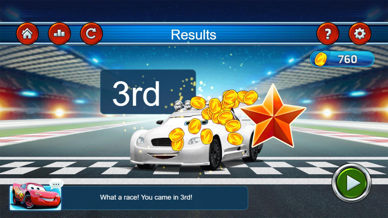 Cars Lightning Speed Game Results Screenshot.