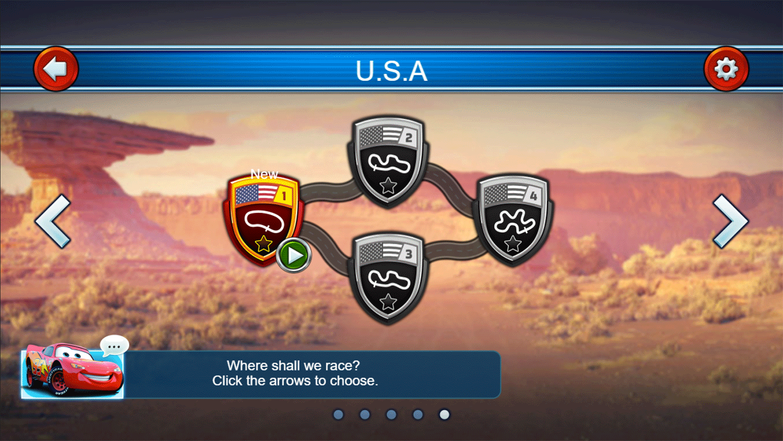 Cars Lightning Speed Game Stage Select Screenshot.