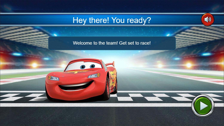 Cars Lightning Speed Game Welcome Screen Screenshot.