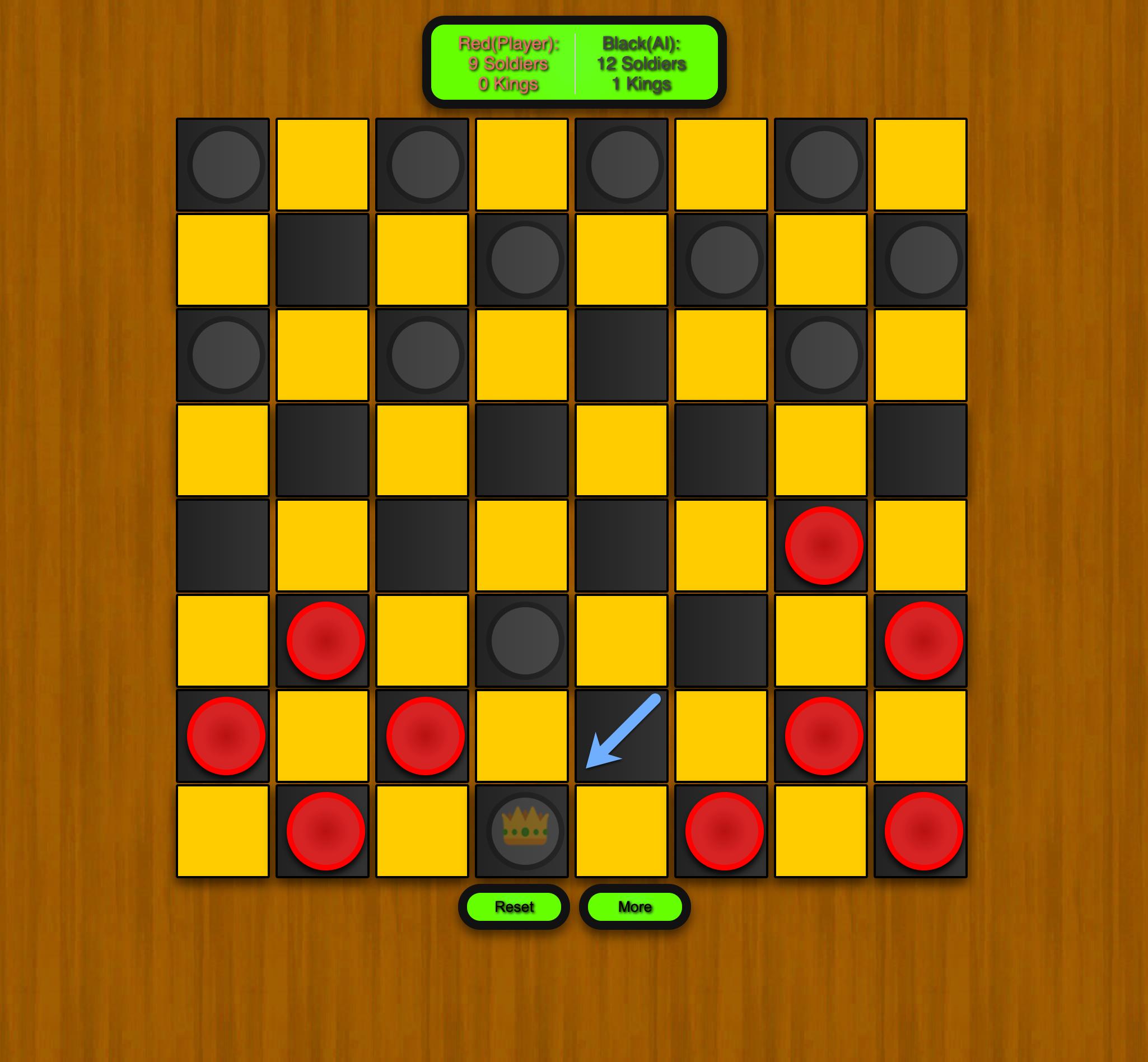 Free Checkers Game Online Black King Screen Screenshot.