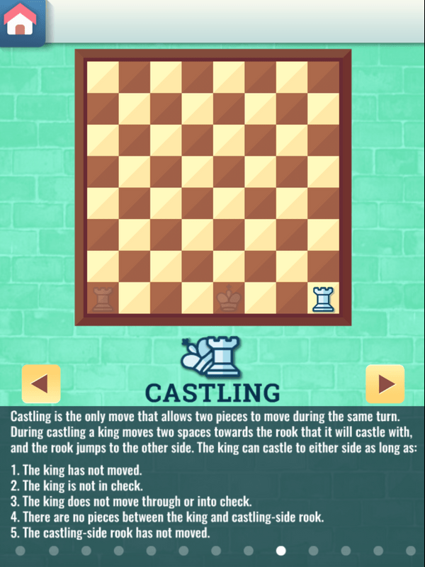 Chess Grandmaster Castling Movement Instructions Screenshot.