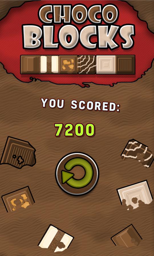 Choco Blocks Game Over Screen Screenshot.