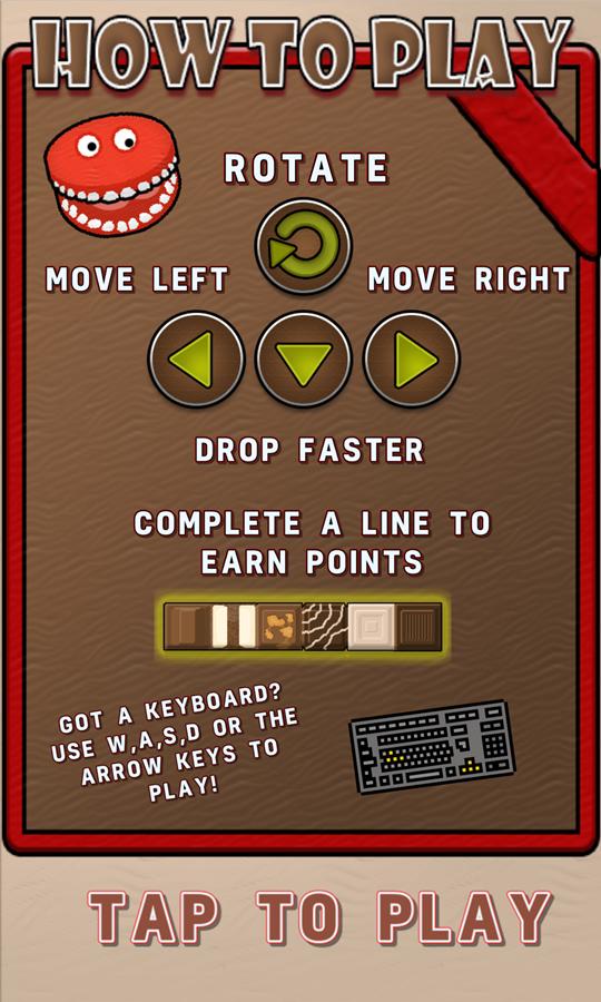 Choco Blocks Game How to Play Screen Screenshot.