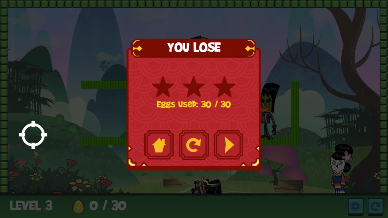 Chuck Chicken the Magic Egg You Lose Screen Screenshot.