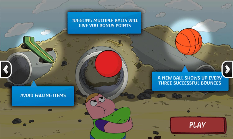 Clarence Arm Shirt Juggle Game Instructions Screenshot.