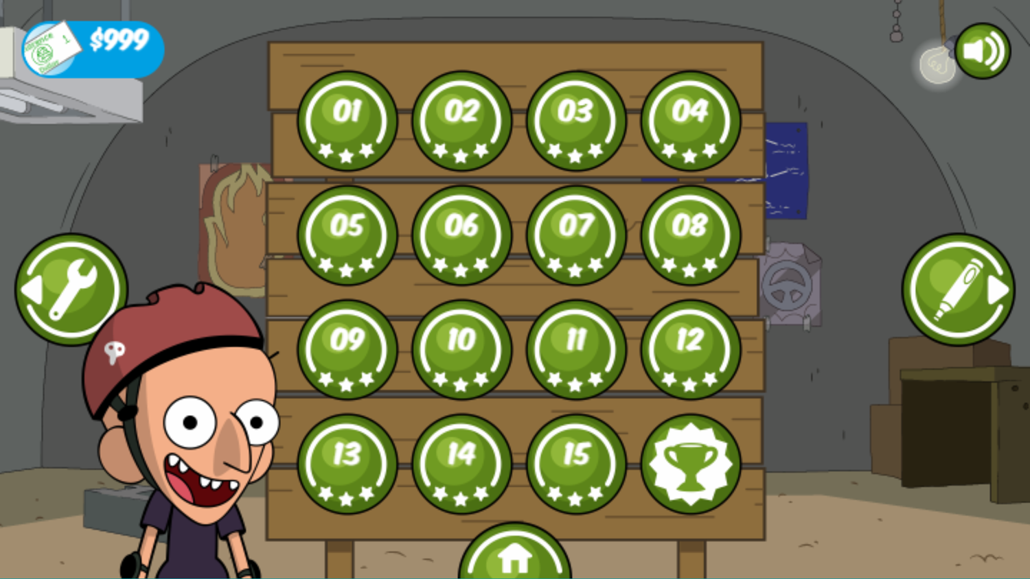 Clarence Reckless Ramps Game Level Select Complete Screenshot.