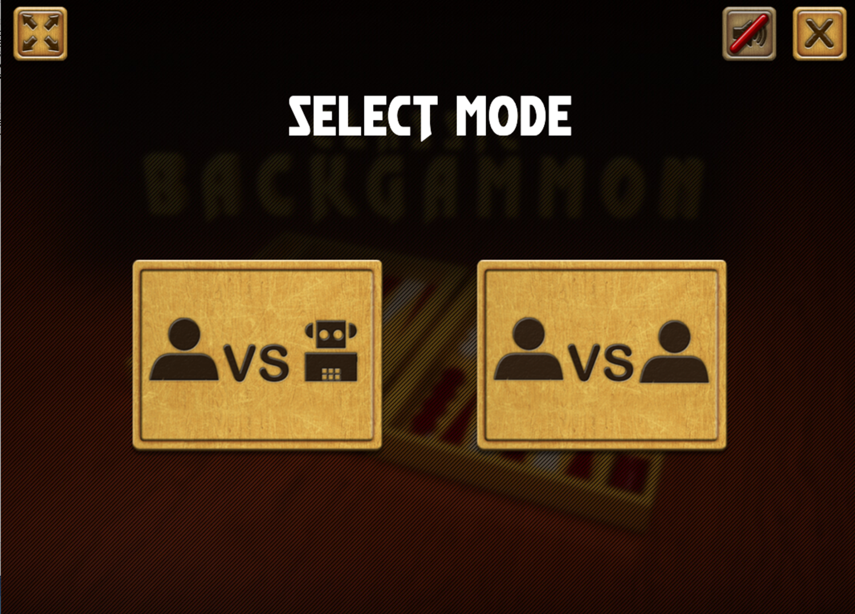 Classic Backgammon Game Select Mode Screenshot.