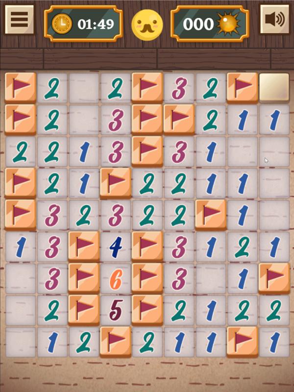 Classic Mine Sweeper Game Easy Mode Filled Screenshot.