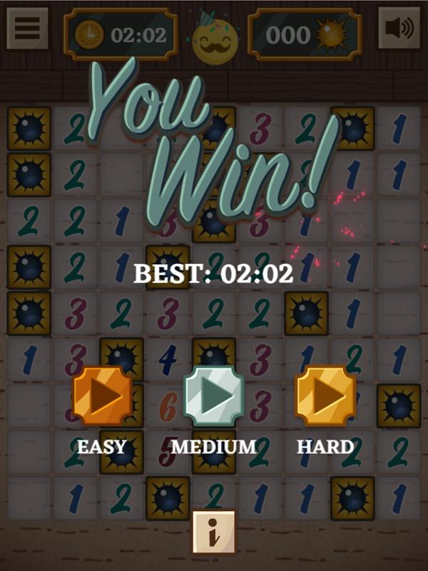 Classic Mine Sweeper Game Easy Mode Win Screenshot.