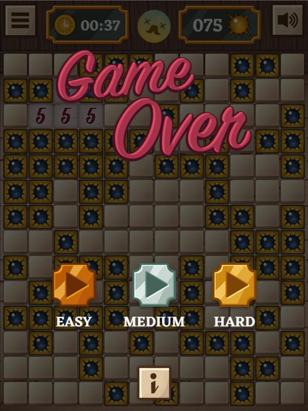 Classic Mine Sweeper Game Hard Mode Lose Screenshot.