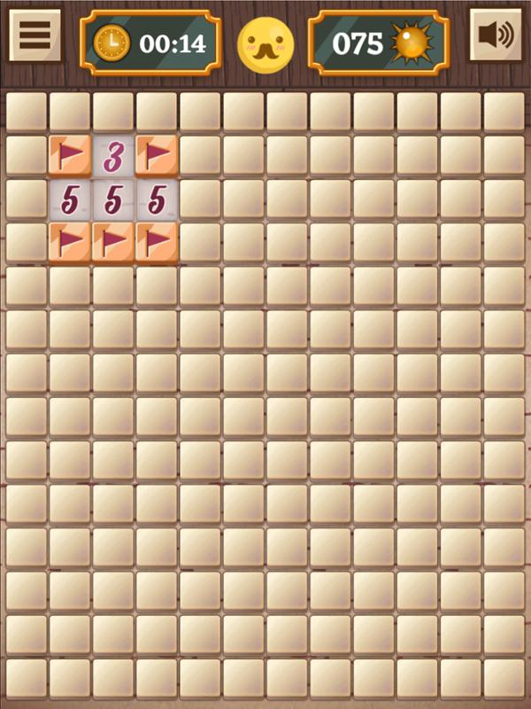 Classic Mine Sweeper Game Hard Mode Screenshot.