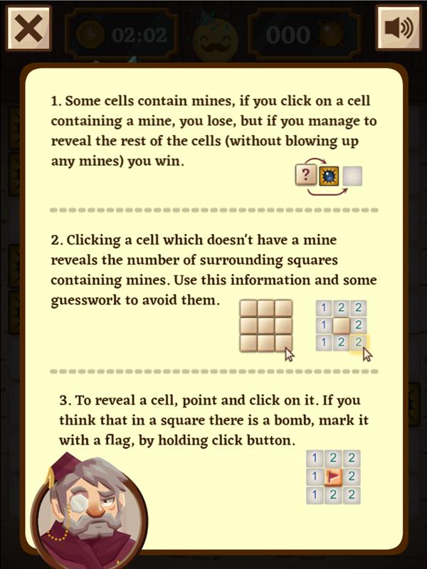 Classic Mine Sweeper Game Instructions Screenshot.