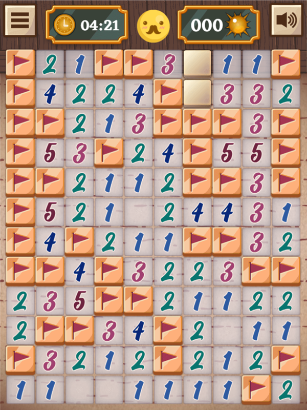 Classic Mine Sweeper Medium Mode Filled Screenshot.