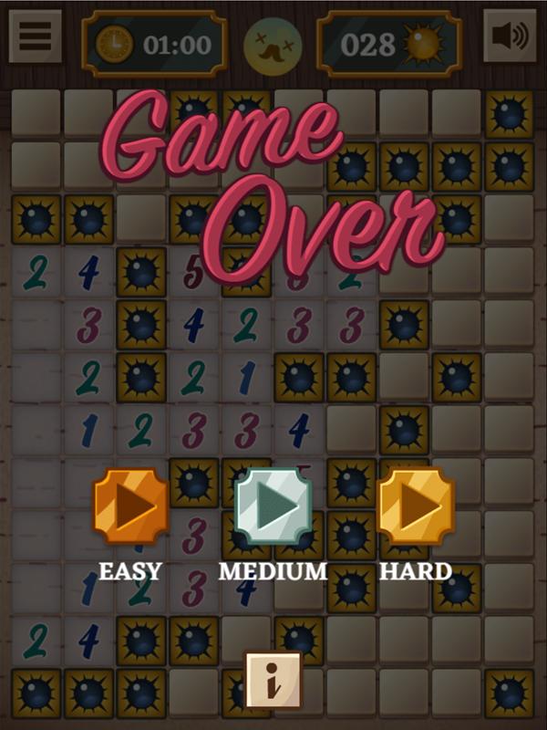 Classic Mine Sweeper Game Medium Mode Lose Screenshot.
