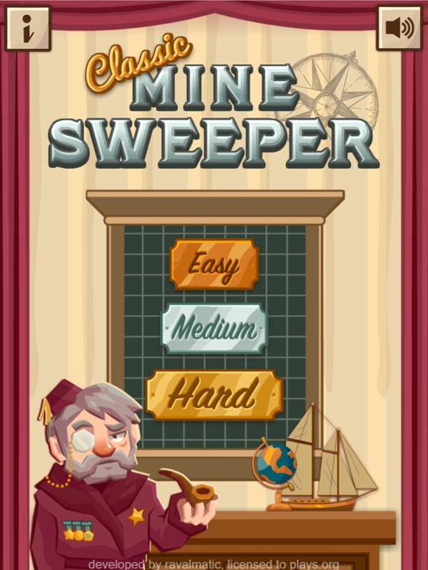 Classic Mine Sweeper Game Welcome Screen Screenshot.