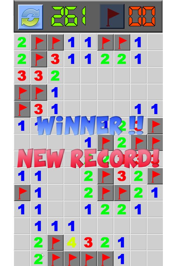 Classic Minesweeper Game Won Screenshot.