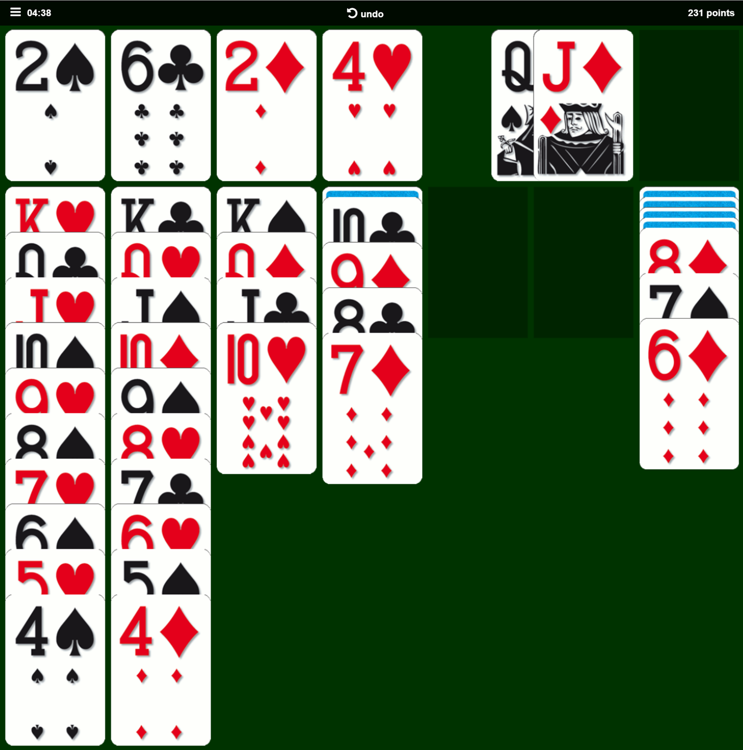 Classic Solitaire Card Game Play Screenshot.