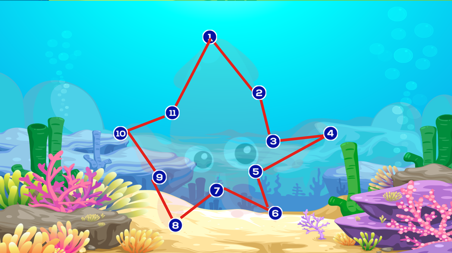Connect the Dots Ocean Animals Game Screenshot.