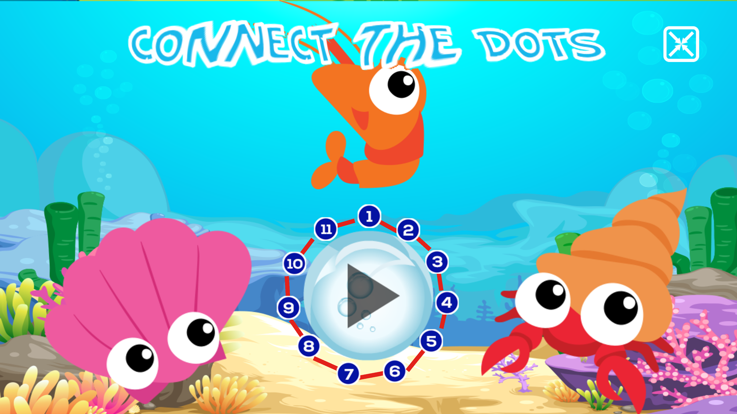 Connect the Dots Ocean Game Welcome Screen Screenshot.