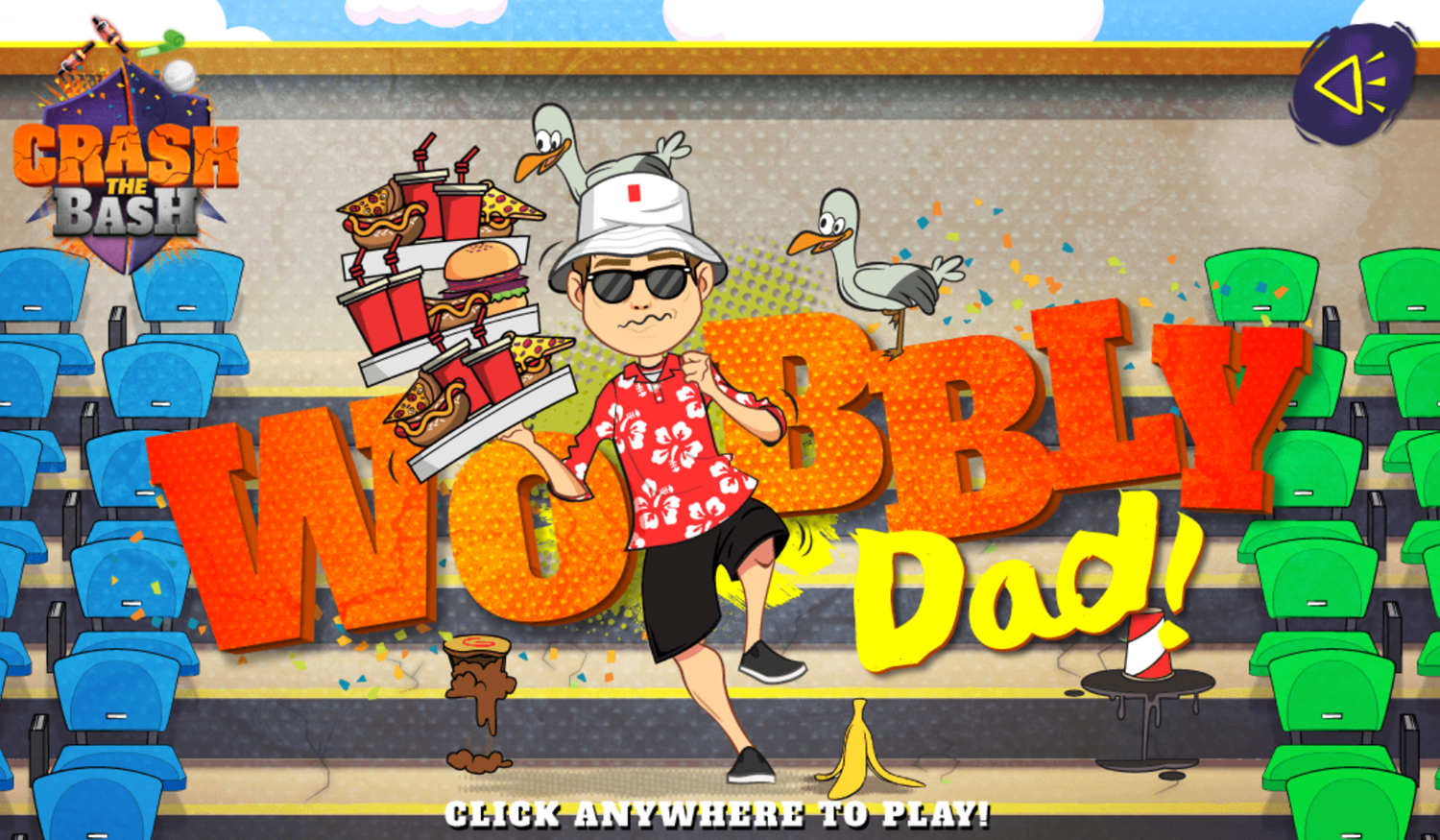Crash the Bash Wobbly Dad Game Welcome Screen Screenshot.