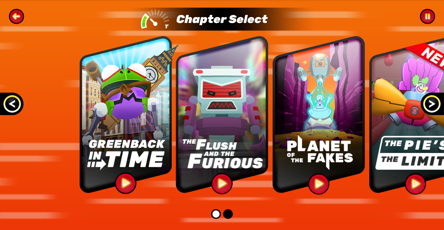 Danger Mouse Full Speed Game Chapter Select Screen Screenshot.