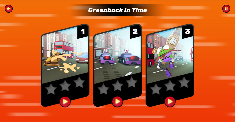Danger Mouse Full Speed Game Level Select Screen Screenshot.