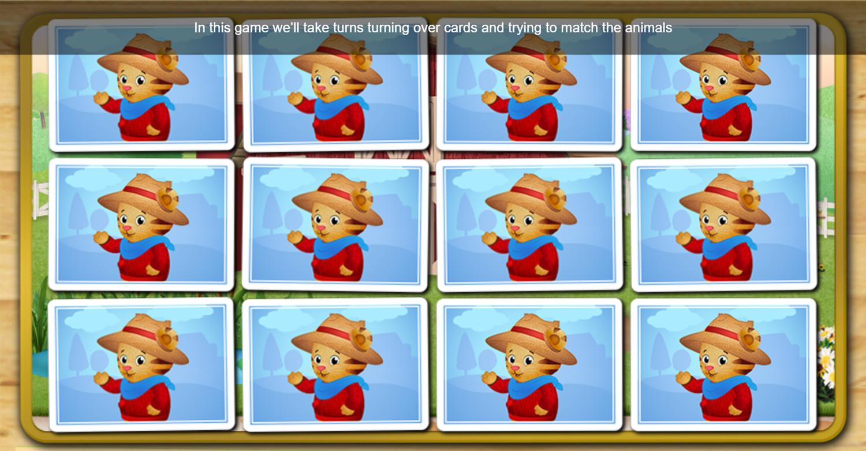 Daniel Tiger's Neighborhood Barnyard Match Game Start Screenshot.