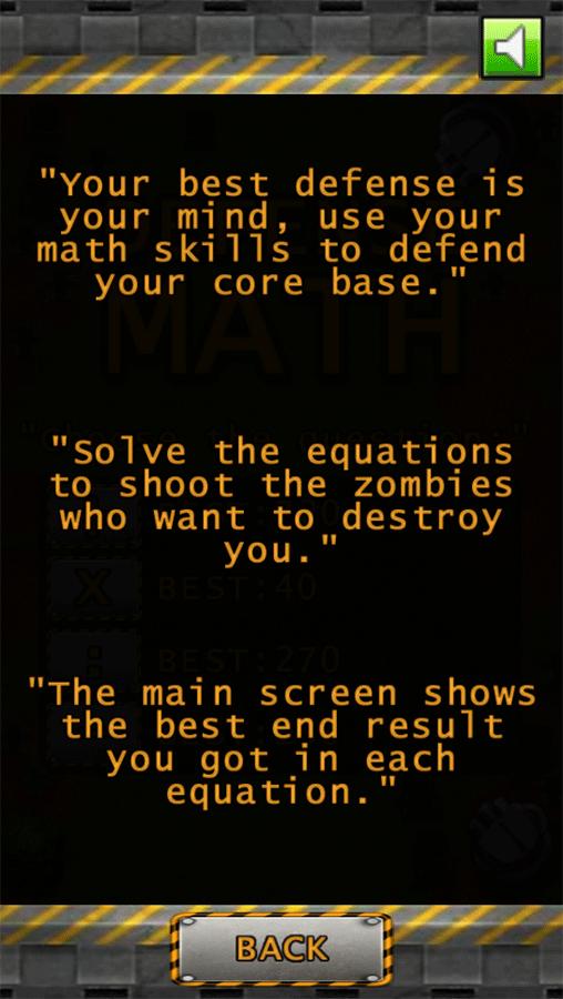 Defense Math Instructions Screenshots.