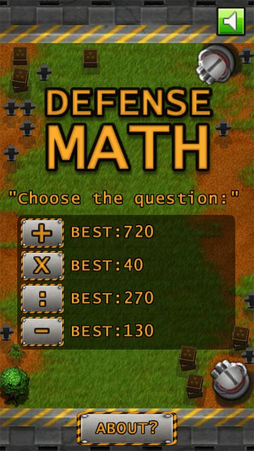Defense Math Welcome Screen Screenshots.