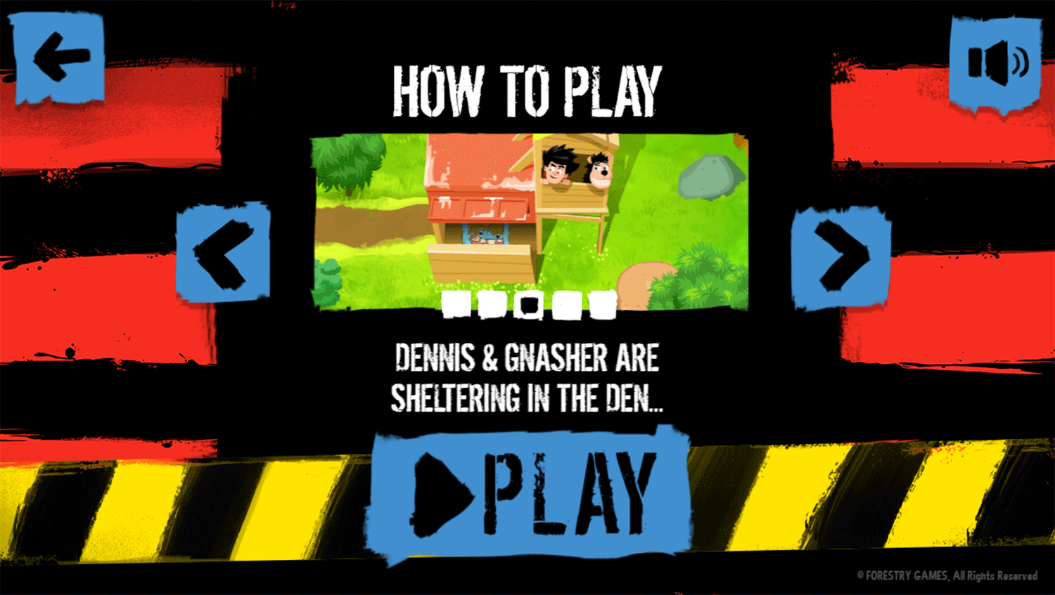 Dennis & Gnasher Defend the Den Game How To Play Screenshot.