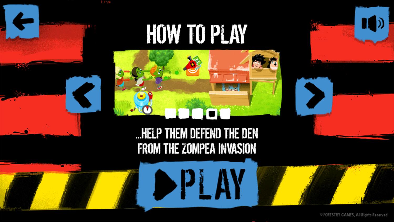 Dennis & Gnasher Defend the Den Game Instruction Screenshot.