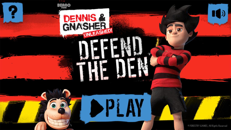 Dennis & Gnasher Defend the Den Game Welcome Screen Screenshot.