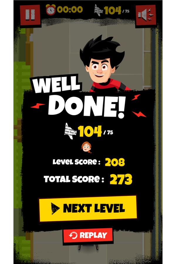 Dennis & Gnasher Sausage & Chips Game Rubi Level Beat Screenshot.