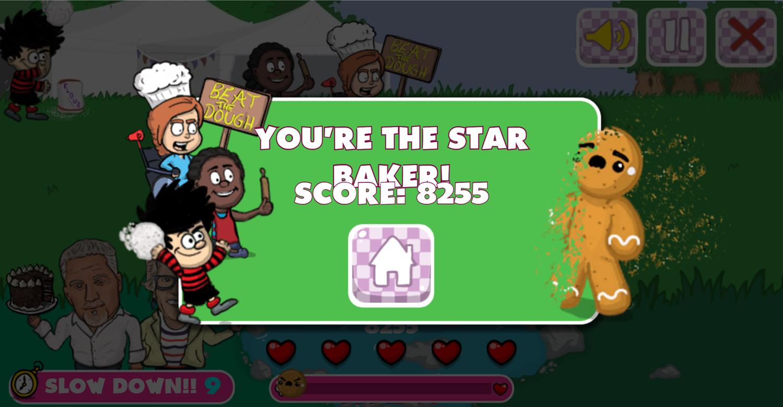 Dennis & Gnasher Great Beano Cake Off Game Beat Screenshot.