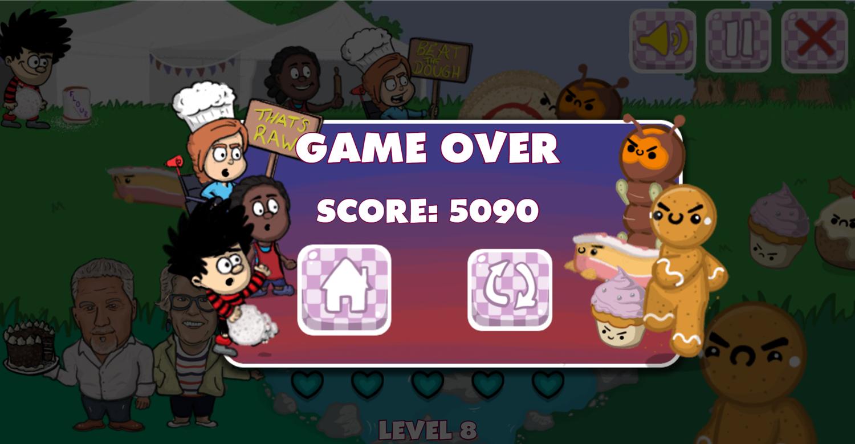 Dennis & Gnasher Great Beano Cake Off Game Over Screen Screenshot.