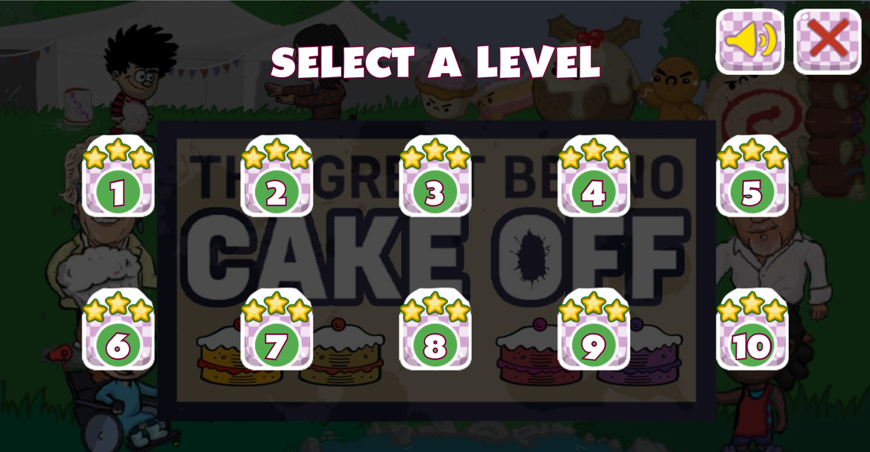 Dennis & Gnasher Great Beano Cake Off Game Level Select Screen Screenshot.