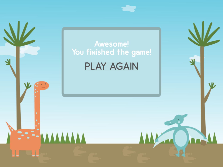 Dino Math Lines Addition Game Beat Screen Screenshot.