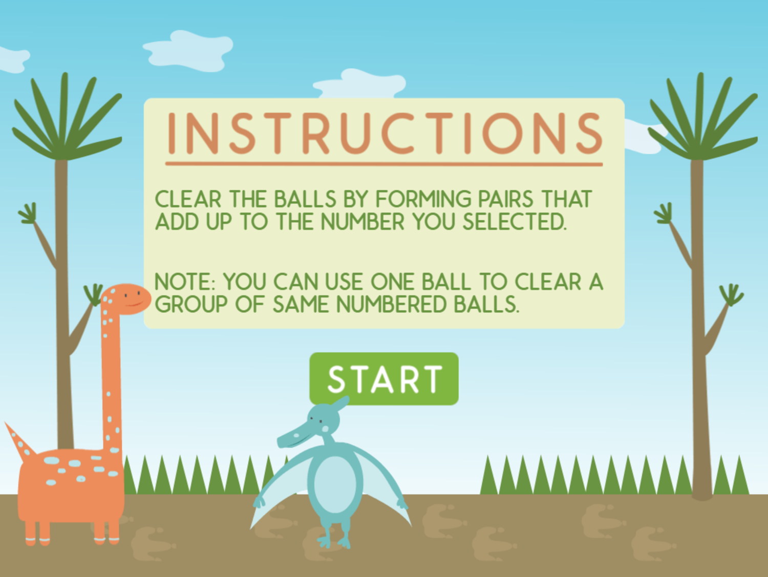 Dino Math Lines Addition Game Instructions Screenshot.