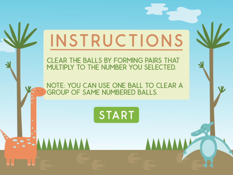 Dino Math Lines Multiplication Game Instructions Screen Screenshot.