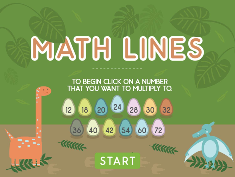 Dino Math Lines Multiplication Game Welcome Screen Screenshot.