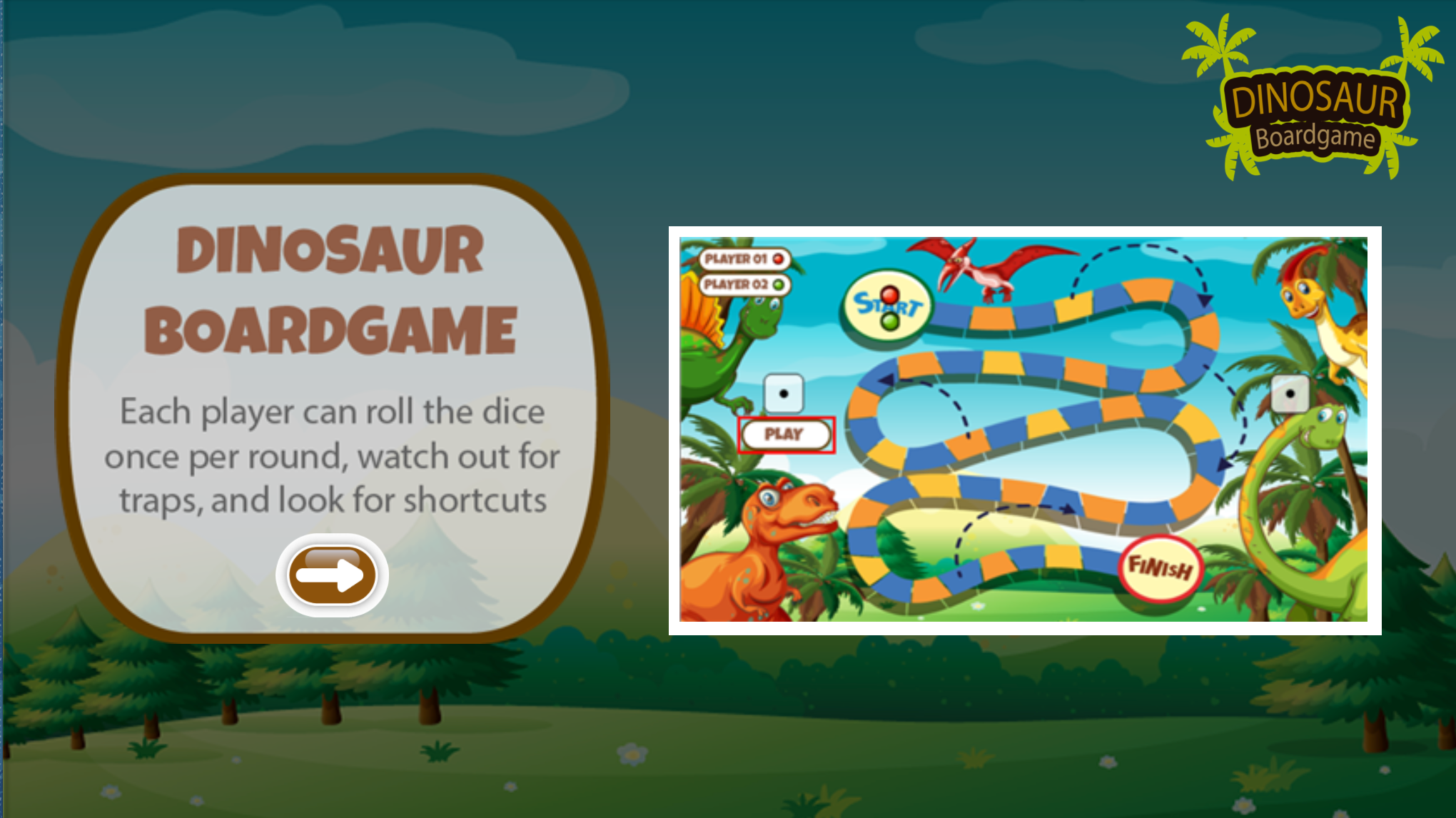 Dinosaur Board Game Online Instructions Screenshot.