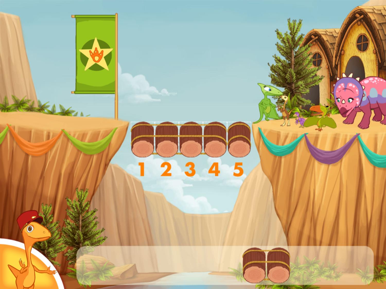 Dinosaur Train Bridge Builder Game Screenshot.