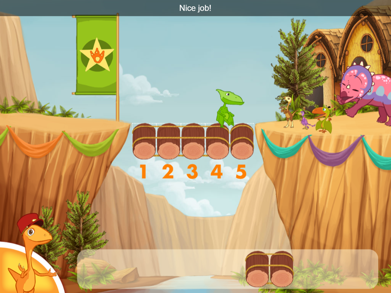 Dinosaur Train Bridge Builder Game Level Complete Screenshot.